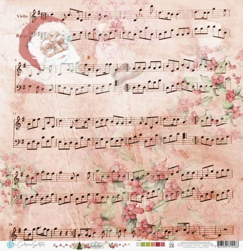 Papel Vegetal - Partitura Papai Noel Colorido - Coleção HOHOHO (HOH12)