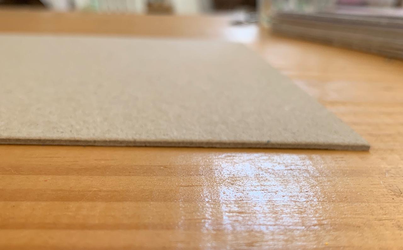 Papelão Cinza/ Holler/ Chipboard 1,5 mm - placa de 20 x 20 cm