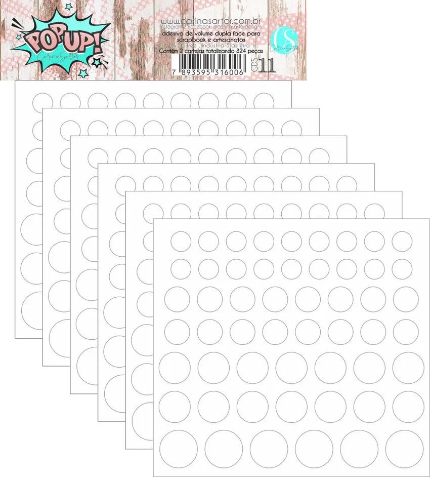 POPUp Adesivo de volume - 6 cartelas (324 peças) - Carina Sartor (CSD11)