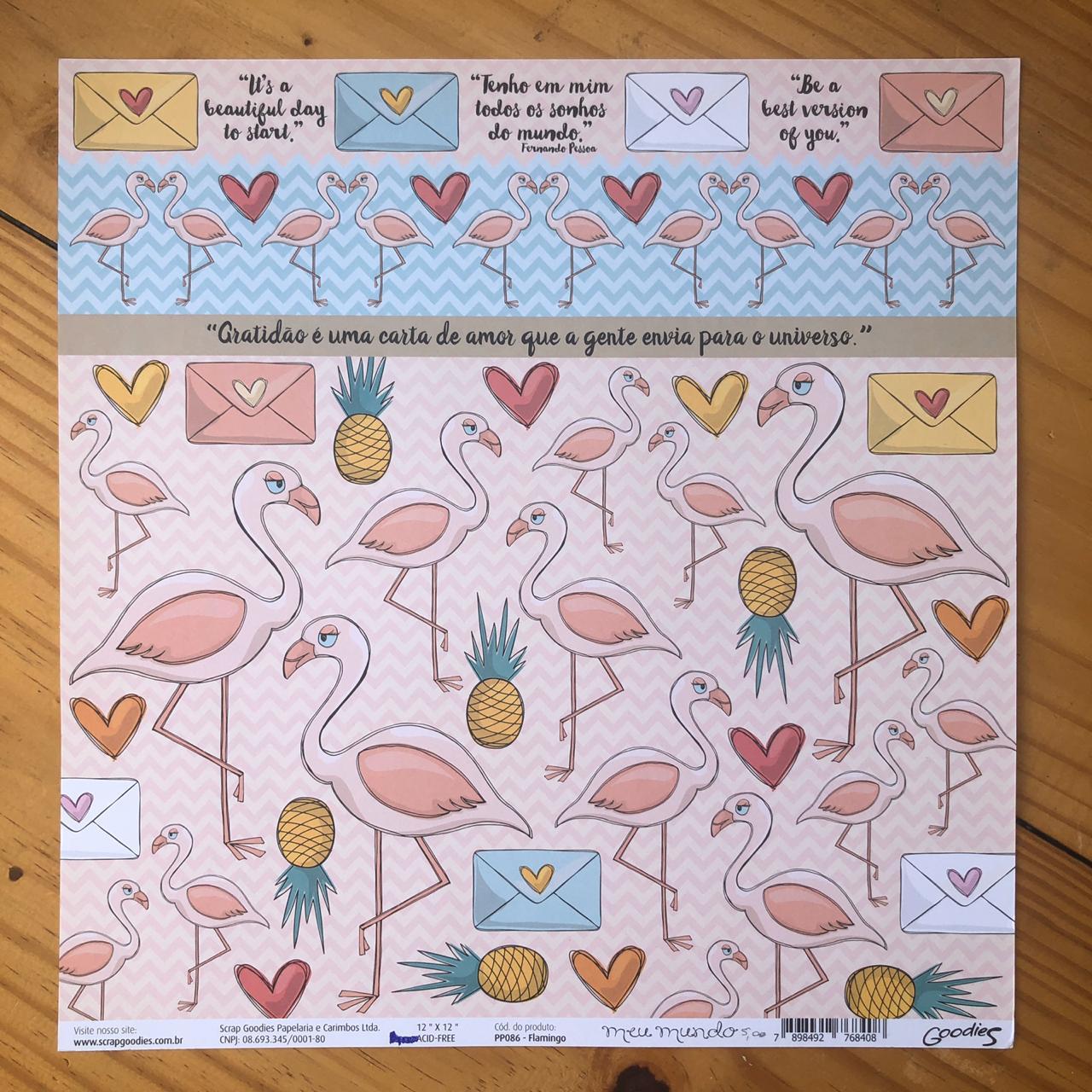 Papel Scrap - Flamingo - Coleção Meu Mundo - Goodies (PP086)
