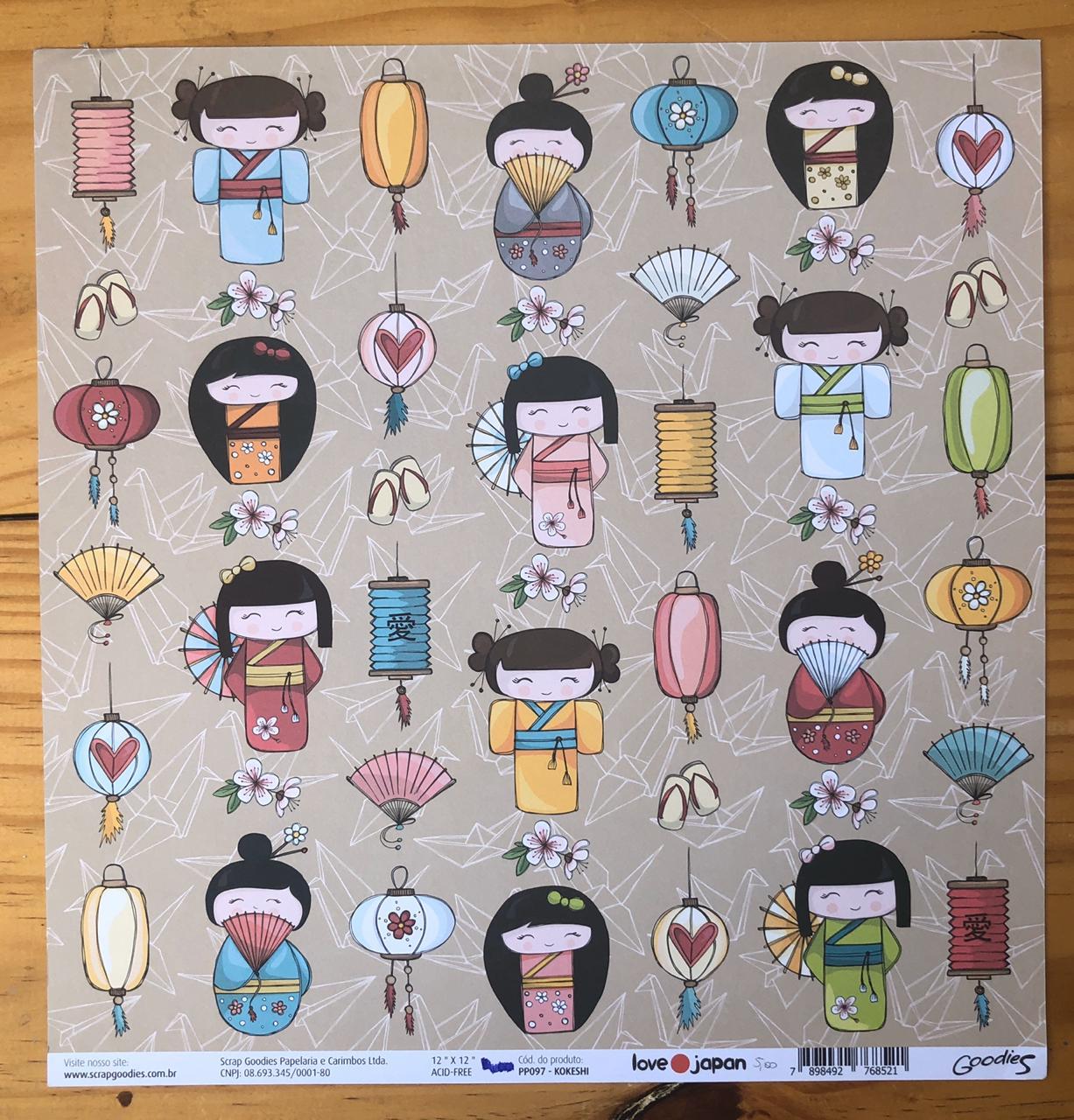 Papel Scrap - Kokeshi - Coleção Love Japan - Goodies (PP097)