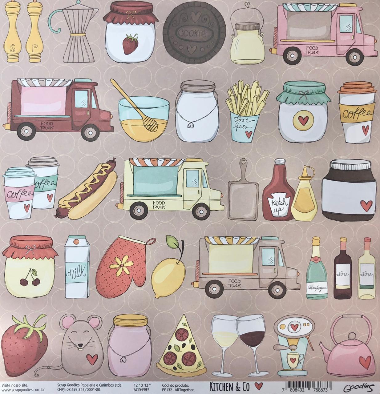 Papel Scrap - All Together - Coleção Kitchen & Co - Goodies (PP132)