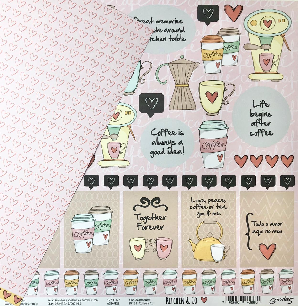 Papel Scrap - Coffee&Co - Coleção Kitchen & Co - Goodies (PP133)