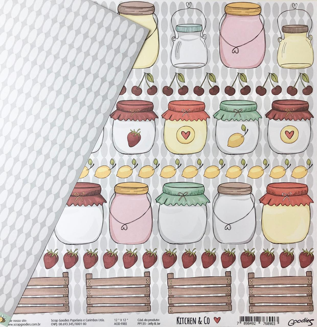 Papel Scrap - Jelly & Jar - Coleção Kitchen & Co - Goodies (PP135)
