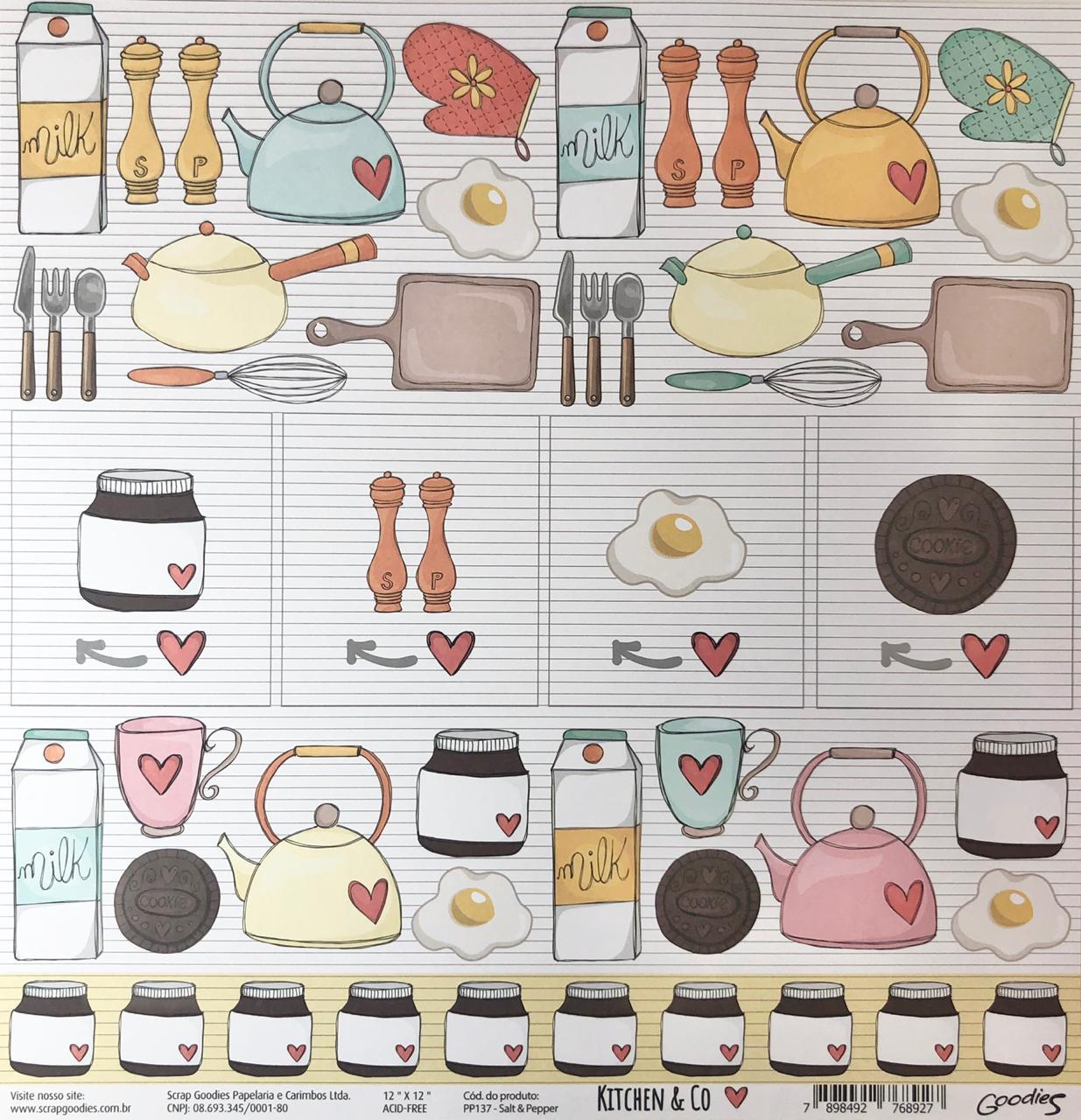 Papel Scrap - Salt & Pepper - Coleção Kitchen & Co - Goodies (PP137)