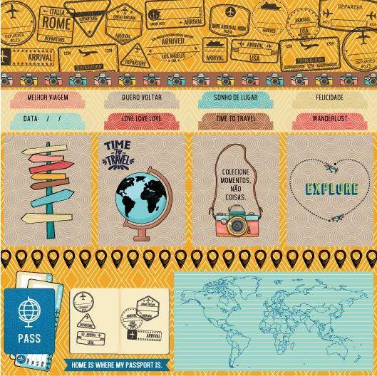 Papel Scrap - Passaporte - Coleção Viagem - Goodies (PP153)