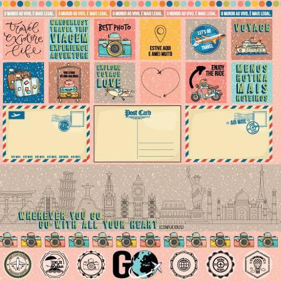 PP154 - Papel Scrap - Cartão Postal - Coleção Viagem - Goodies