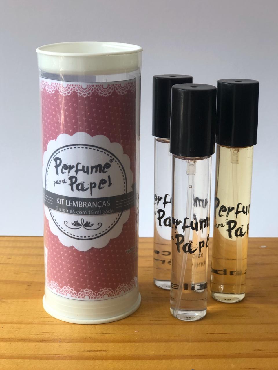 Perfume para papel com 3 aromas (15 ml cada) - Gabriela, Gentileza, Doce Inocência (Kit Lembranças|PP1561)
