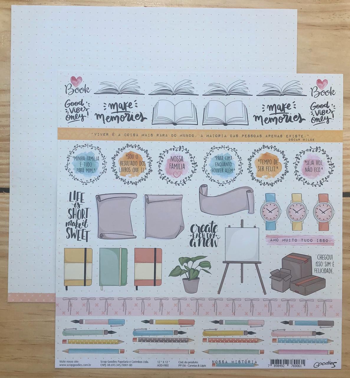 Papel Scrap - Canetas e Lápis - Coleção Nossa História - Goodies (PP156)
