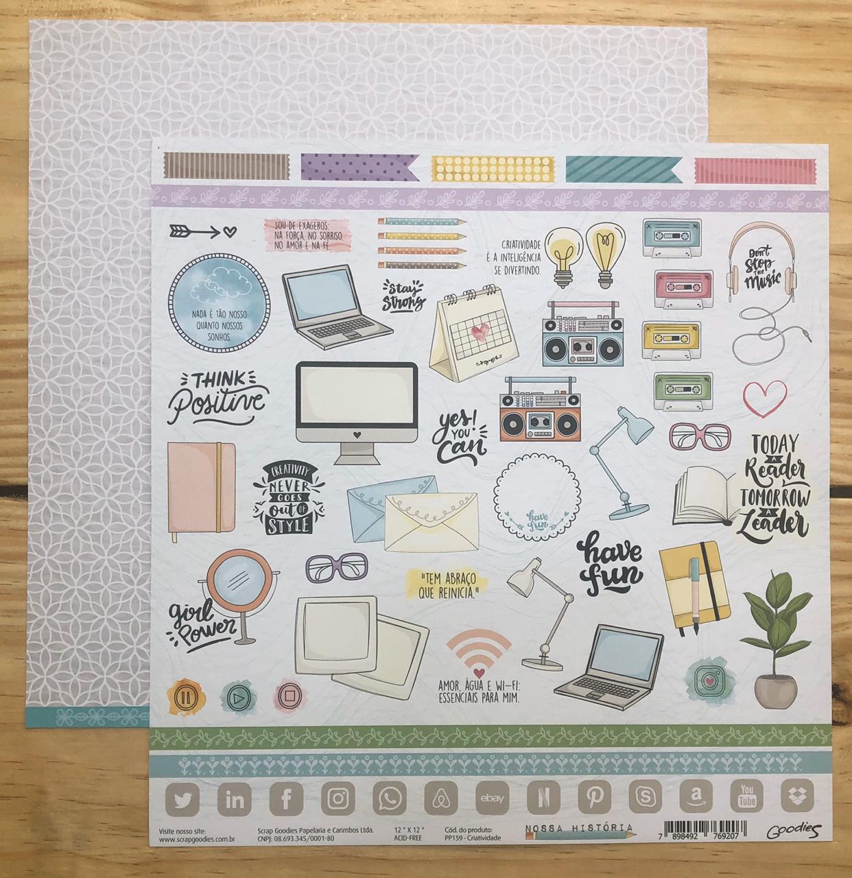 PP159 - Papel Scrap - Criatividade - Coleção Nossa História - Goodies