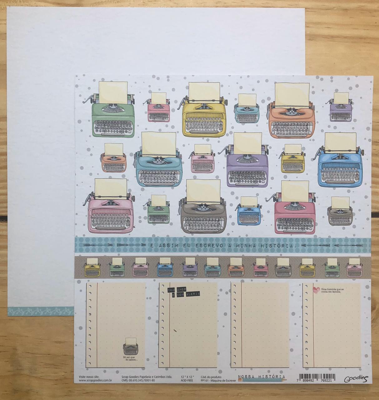 Papel Scrap - Máquina de Escrever - Coleção Nossa História - Goodies (PP161)