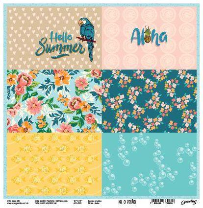Papel Scrap - Aloha - Coleção Ah, o verão! - Goodies (PP166)