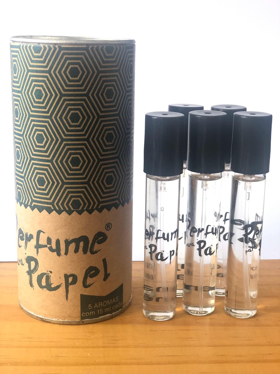 Perfume para Papel com 5 aromas (15 ml cada) + Latinha (Kit 3|PP16)