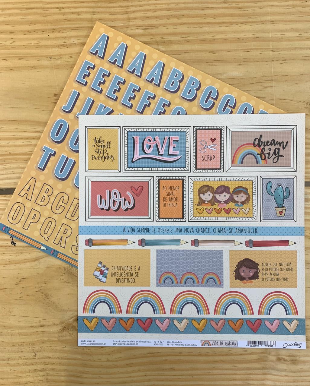 Papel Scrap - Arco-Íris e Molduras - Coleção Vida de Garota - Goodies
