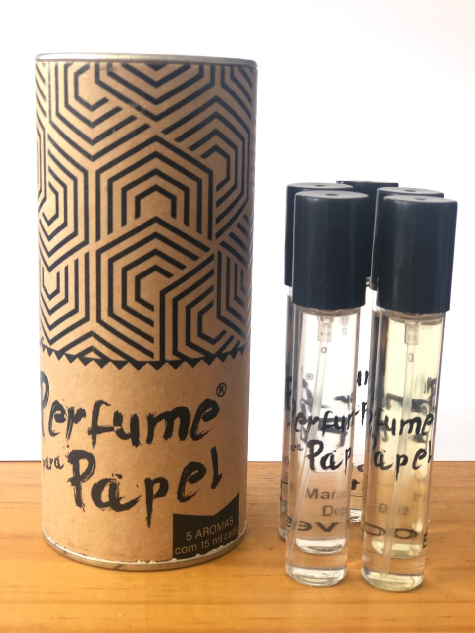 Perfume para Papel com 5 aromas (15 ml cada) + Latinha (Kit 5|PP20)