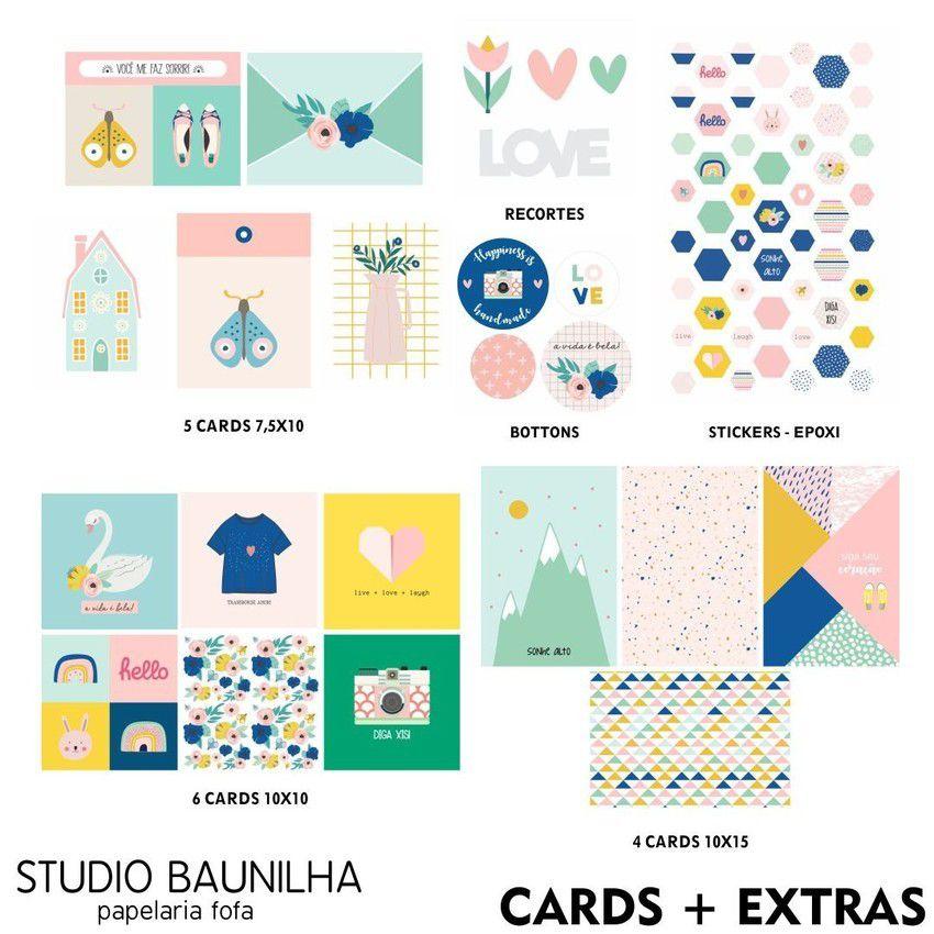Kit Papéis e Complementos - Ser Feliz - Studio Baunilha (SB008)