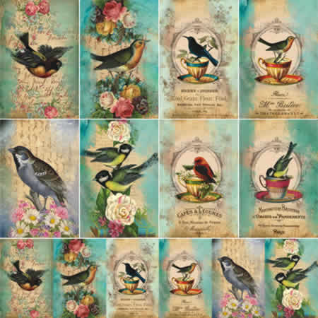Papel Scrap - Tags Pássaros - Arte Fácil (SC-127)