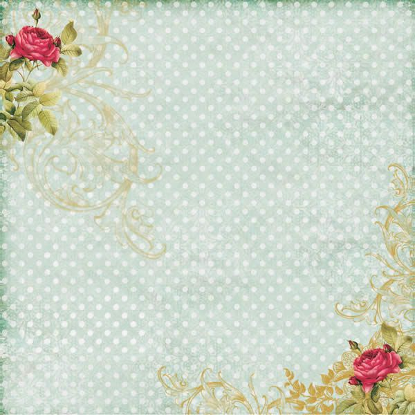 Papel Scrap - Poá com rosas - Arte Fácil (SC-200)