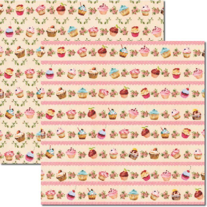 Papel Scrap - Cupcakes Creme 2 - Arte Fácil (SC-239)