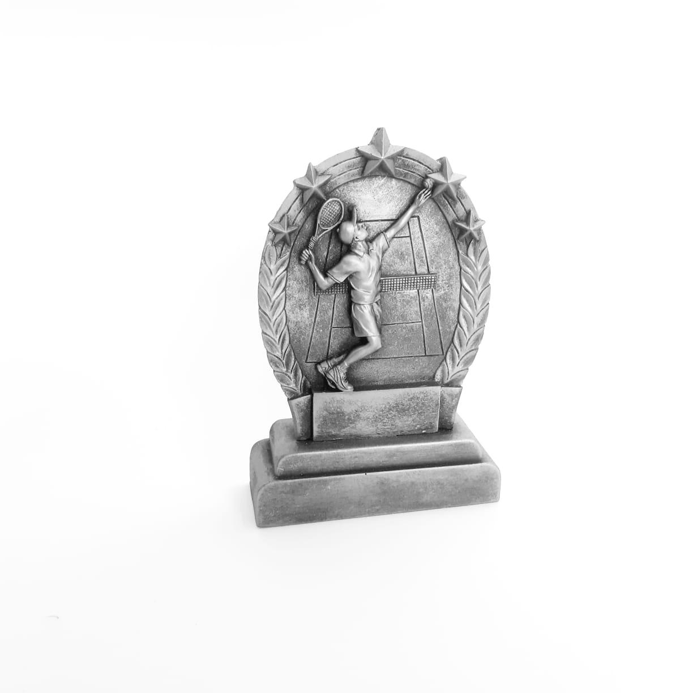 Troféu  em resina- Tennis / Tenis / Atleta 2D / Oval M