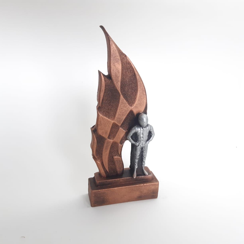 Troféu  em resina- Kart / Corrida / Piloto 3D  / Bandeira