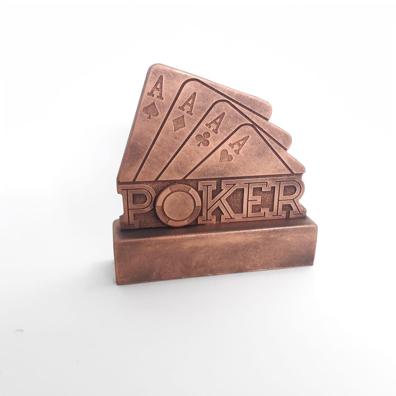 Troféu em resina- Poker / Aces / Carta / Quadra