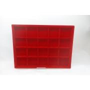 Bandeja Grd. Quadriculada Veludo Vermelho 28x38x2.5