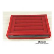 Bandeja Mini Anel Veludo Vermelho com tampa plástica transparente