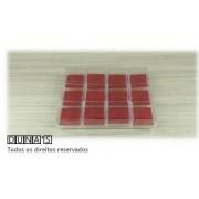 Caixa Acrílico para Anel 4x4x3 (fundo vermelho)