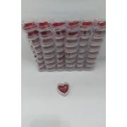 Caixa de Acrílico Coração 3.5x3.5x2 (fundo vermelho) com 48 unidades