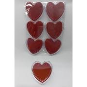 Caixa de Acrílico de Coração para conjunto 9x9x3 (fundo vermelho)  pacote com 6 unidades