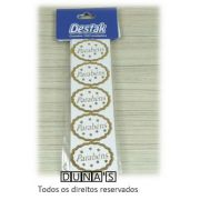 Etiqueta ( PARABÉNS ) Ouro pacote c/100 unidades