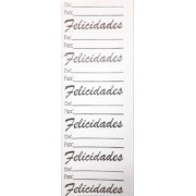 ETIQUETAS ADESIVAS (FELICIDADES ) PRATA : DE:/ PARA :