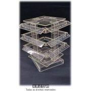 Expositor de Acrílico para Piercing Peq Giratório 14x14x16 Transparente