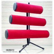 Expositor de Pulseira ( pé de ferro ) Triplo Veludo Vermelho 30x30x16