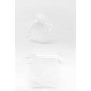 Saco de Organza 7x9 Branco brilho prata  C/10 Unidades