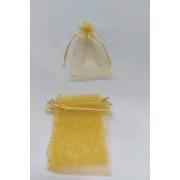 Saco de Organza 9x12 Dourado pacote com 10 unidades