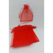 Saco de Organza 9x12 Vermelho pacote com 10 unidades