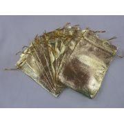 Saco Lame 10x15 Dourada pacote com 100 unidades