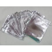 Saco Lame 15x20 Prata  pacote com 100 unidades