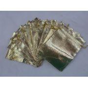 Saco Lame 9x12 Dourado pacote com 100 unidades