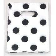 Sacola Plástica 15x20 Branca c/ bolas pretas
