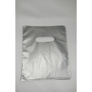 Sacola Plástica 16x20 PRATA -alça boca de palhaço