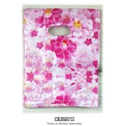 Sacola Plástica ( floral rosa   ) 15x20 pacote com 100 unidades