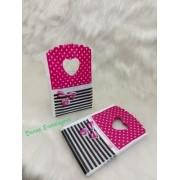 Sacola Plástica ( laço poá /listra preta ) 9x15 pacote com 100 unidades