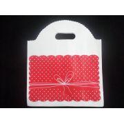 Sacola Plástica ( vermelho poá/laço méd ) 24x29 pacote com 50 unidades