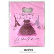 Sacola Plástica ( vestido rosa   ) 15x20 pacote com 100 unidades