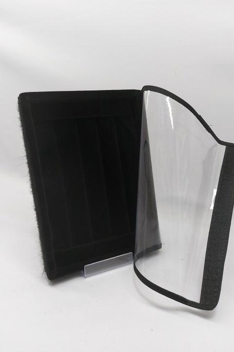 Bandeja Mini Anel Veludo Preto com tampa plástica transparente