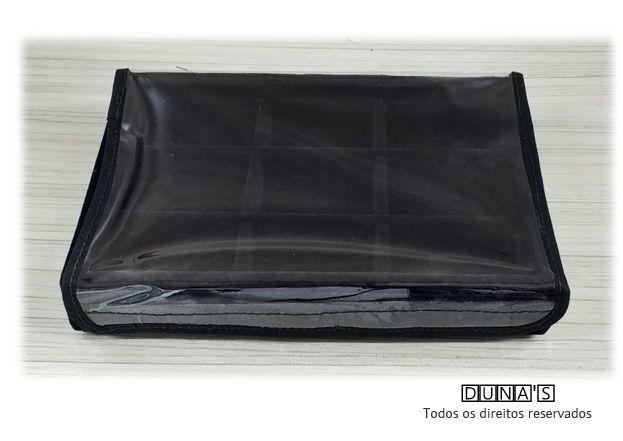 Bandeja Mini Quadriculada  Veludo Preto com tampa plástica transparente