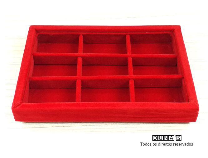 Bandeja mini Quadriculada Veludo Vermelho 20x14x3